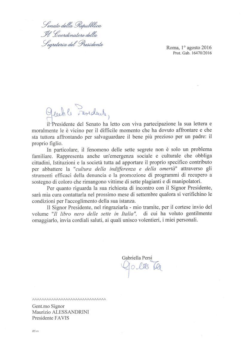 risposta  Presidente Senato P. Grasso